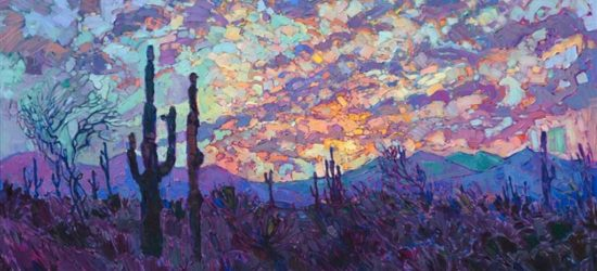 Saguaro at Dusk by Erin Hanson