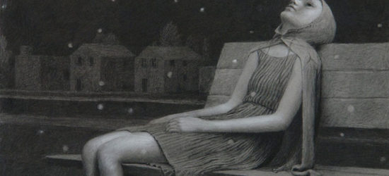 Aron Wiesenfeld's Leigh, Charcoal On Paper